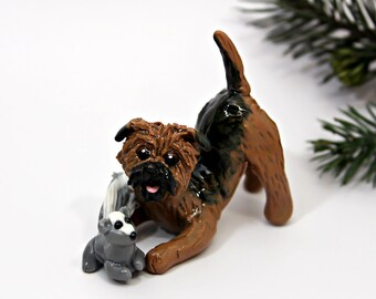 Border Terrier PORCELAIN Christmas Ornament Figurine Toy Squirrel OOAK