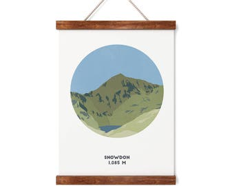 Snowdon Mountain print, Snowdonia, Three Peaks Challenge, A4 Print, A3 Print, Gifts for him or her