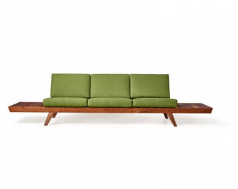 Head in the Sky Sofa - Modern Walnut Couch with Ottoman, Side Tables, and Custom Upholstery