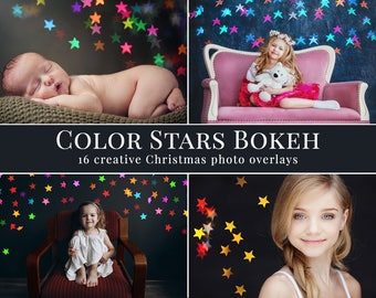 """Christmas photo overlays """"Color Stars Bokeh"""", stars photo overlays, holiday bokeh, creative overlays for Photographers, action for Photoshop"""