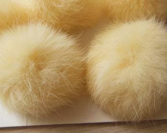 3pcs 6cm Cream Real Rabbit Fur Ball Rabbit Fur Pom Poms
