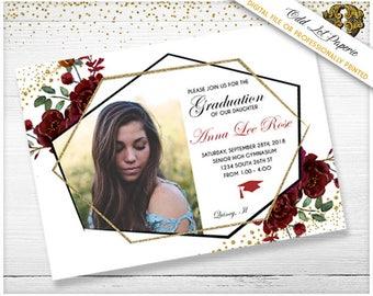 Graduation Invitation Template Graduation Announcement High School Graduate College Graduate Merlot flowers Boho Geometric Gold Photo invite