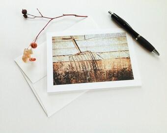 5x7 card, vintage hay fork, primitive, weathered, brown, lavender, photomontage, blank greeting card