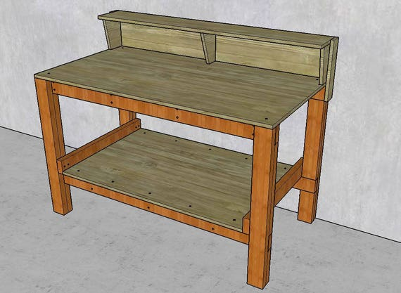 Workbench with shelf plans diy fast and easy to build for 2x4 cabinet plans