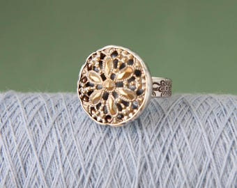 Antique Button & Sterling Silver Ring