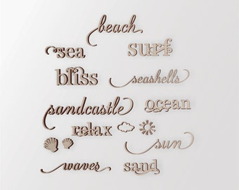Wooden Beach Word Art Group - Cutout, Home Decor, Unfinished