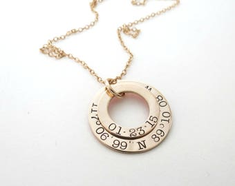 Personalized Gold Coordinates Necklace - Custom Longitude Latitude Jewelry - Anniversary - Personalized Jewelry - Mothers - Wedding - Womens