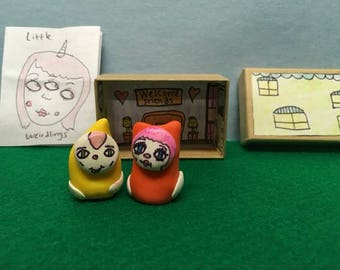Little Weirdlings,toy set, clay,kids,miniature,fun,cat,creature,gnome,gift,box,house,monsters