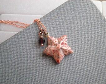 Bohemian Star Necklace - Ruby Crystal & Stone Star Pendant - Everyday Boho Chic Lucky Star Charm - Starchild Gypsy Layering Jewelry Gift
