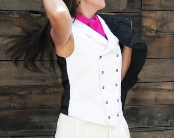 White Silk Brocade Vests--For Women