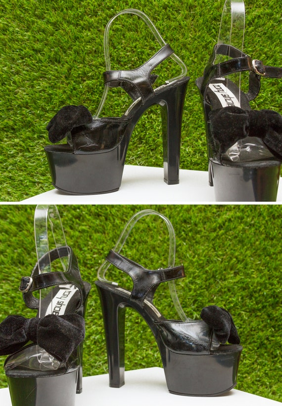 Jane Black PVC Heel Vintage Thick Bow Faux Patent 90s Shoes High Platform 7 Sandals Shoes Mary Shiny Chunky Toe Open Velvet Leather Tony qwR0R7