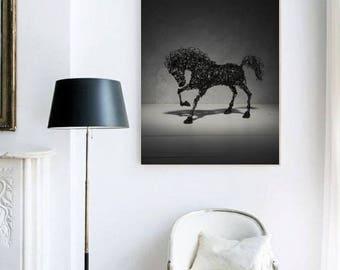 Printable art horse, Cotton canvas print, Paper print, Office decor, Animal wall art, Art Poster, livingroom wall decor, steampunk print