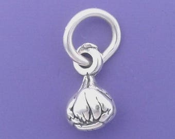 GARLIC Bulb Charm .925 Sterling Silver Cooking, Chef MINIATURE Small  - t01958
