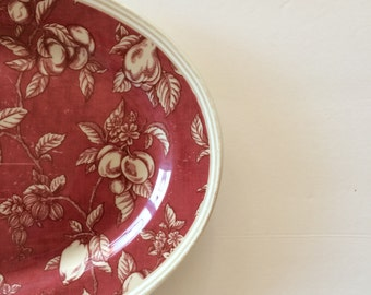 Waverly Fruit Toile Garden Room Platter   Cranberry U0026 Cream   Country  French Cottage Farmhouse Interior Decor