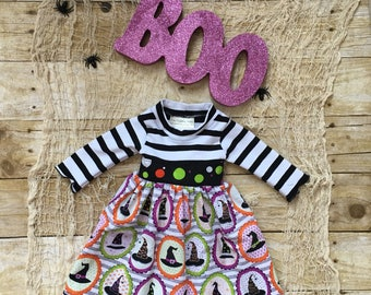 Newborn Halloween Dress - Newborn Outfit for Halloween - Baby Witch Dress - Black and White Little Girls Dress - Halloween Outfit -Halloween