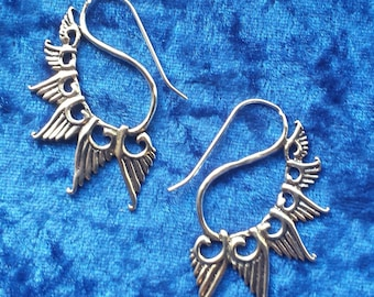 Silver Plated Funky Wing Feather  Earrings - Tribal Earrings, Ethnic Earrings, Boho Earrings, Gypsy Earrings, Feather Earrings SP27