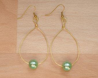 Gold Teardrop Earrings - Statement Jewelry - Wire Hoop Earrings - Wedding Jewelry - Big Hoop Earrings - Bridesmaid Gift