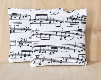 Lavender Sachets, Black & White Musical Notes Drawer Sachets, Lavender Bags, Music Teacher Gift