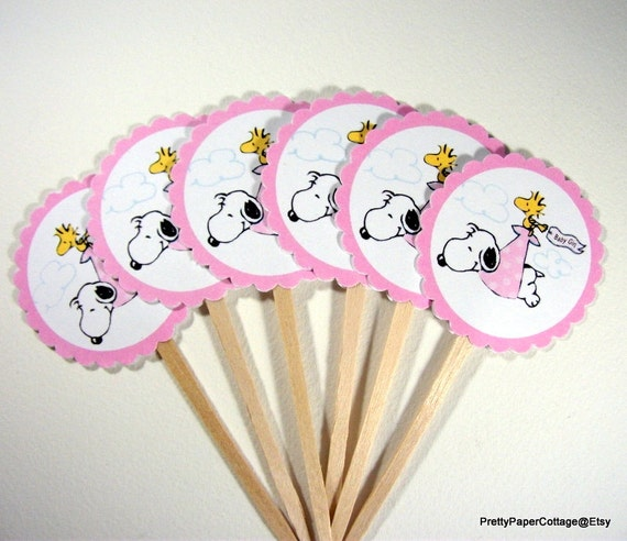 Snoopy Baby Girl Cupcake Toppers Baby Shower Woodstock