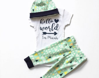 Hello World, Newborn Outfit Baby Boy, Coming Home Outfit, Going Home Outfit, Personalized Baby, Baby Shower Gift, Going Home Set