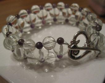 Quartz and Amethyst  Dream Bracelet