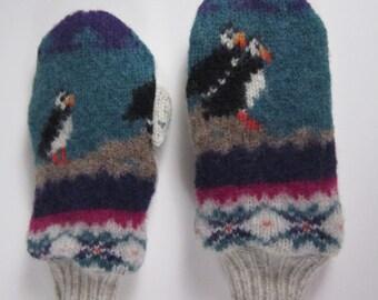 Shrunken Knit Wool Penguin Print Mittens(m63)