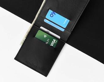 Jet Black Leather Bifold Wallet