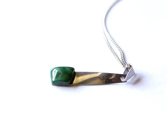 Natural Malachite Jewelry, Gemstone Necklace, Pendant Cabochon, Healing Crystals, Malachite Gift for Her