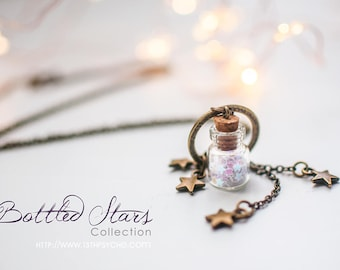 mother gift Miniature Stars necklace,glass Bottle necklace,Celestial jewelry,vial necklace,cute necklace,bottle jewelry,gift for women,