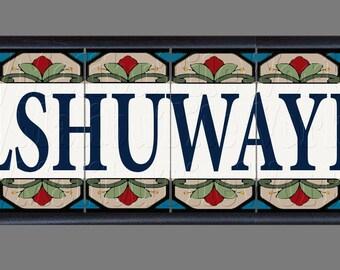 """CUSTOM Listing for REEM, Framed 6-Tile Custom House Sign - 6-Tiles, Custom Colors and Lettering """"ALSHUWAYER"""""""