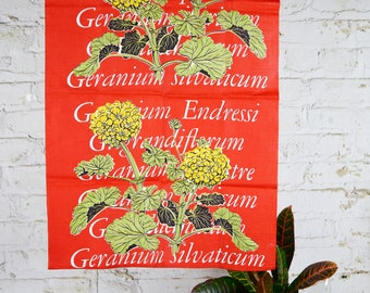 Martex Geranium Flower Tea Towel Red