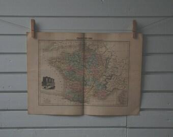 1887 Vintage Map of France in 1789
