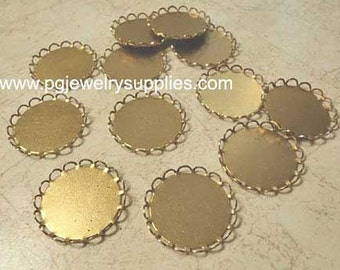 21mm round brass lace edge cameo cab settings 12 pieces lot l X N