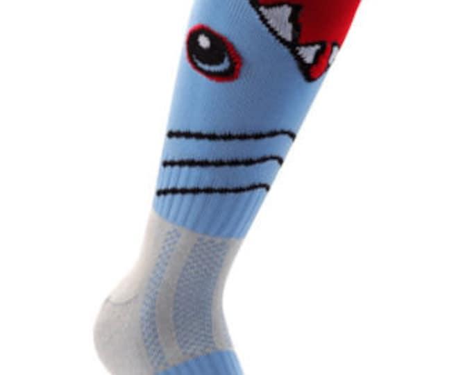 Samson® Shark Attack Animal Funky Socks Sport Knee High Sport Football Rugby Soccer