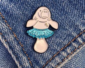 Manatutu, Manatee Enamel Pin, soft enamel pin, cute enamel pin, lapel pin badge, blue glitter, ballet gift, pins, badges, gift