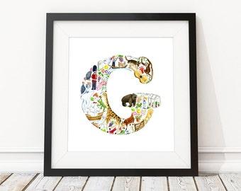 G is for...  Alphabet print - Children's Art Print, Signed