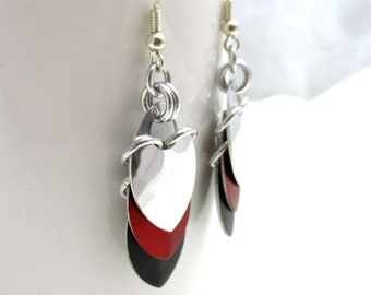 Layered Scalemaille Earrings - Red, Black & Mirror - Ready to ship!