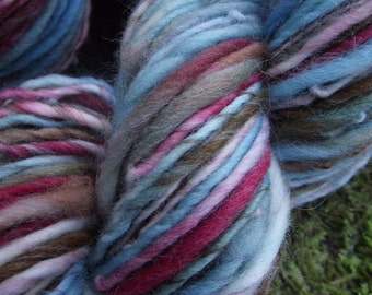 Handspun yarn, Organic Polwarth wool yarn  handpainted yarn, worsted thick and thin-Little Bird