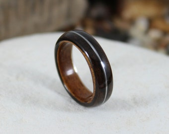 Wooden Ring Ebony & Olive with a Guitar String Inlay.  Bentwood Ring Mens Wedding Band Wood Ring For Men Womens Wood Ring Mens Wedding Ring
