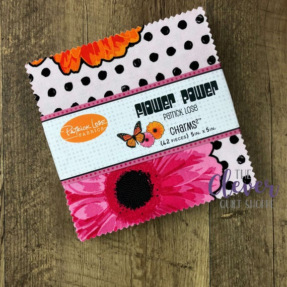 Charm Pack, Flower Power, Orange, Patrick Lose, Squares, Neon, Retro Fabric, 70s Fabric, Butterfly, Pink, Black, White