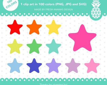 100 Colors Clip Art: Puffy Star, Star Clip Art, Star Clipart, Star SVG, Stars Clipart, Rainbow Stars, 100 colors, Clip Art, Clipart, SVG
