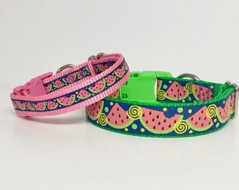Spring Watermelon Dog Collar, Puppy , handmade, boutique, fruit, cute , tiny dog, small, large