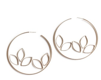"""Nature inspired large statement hoop earrings handmade by joining many silver leaf shapes inside a large circle  - """"Rowan Earrings"""""""