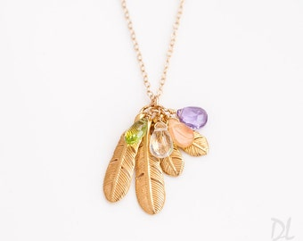 Personalized Birthstone Feather Necklace, Gold Custom Family Necklace, Boho Necklace, Grandmothers Necklace, Gift for Mom, Gift for Wife