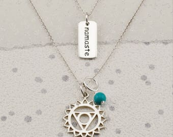 Throat chakra etsy sterling silver throat chakra necklace yoga necklace turquoise jewellery meditation jewellerydecember aloadofball Gallery
