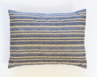 Blue Ticking Pillow, Farmhouse Pillows, French Country Decor, Rustic Pillows 12x16