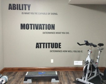 Motivational Quote Gym Wall Decal. Ability, Motivation, Attitude 14