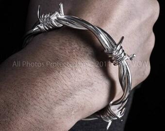 Barb Wire Bangle Bracelet - Mens Barbed Wire Wristwear - 925 Solid Sterling Silver