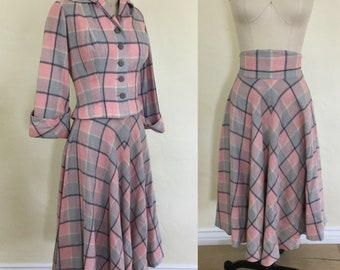 1950s New Look Styled Plaid Suit