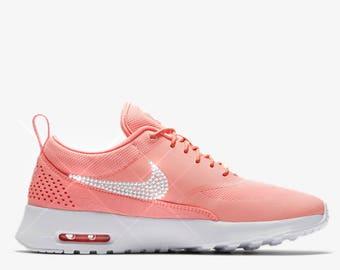 bling nikes- crystal nikes- bling nike thea- sparkly sneakers- crystal nike roshe one- custom nikes- pink orange nikes- bling nike shoes
